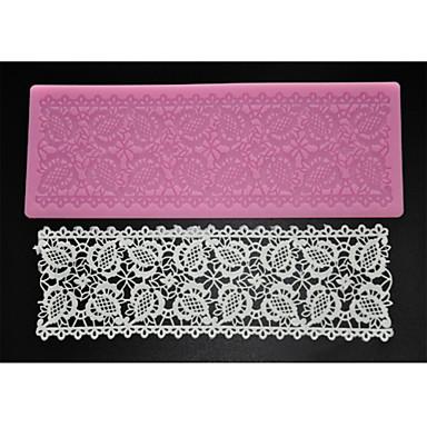 four-c bakken gereedschappen reliëf kant mat siliconen cakevorm voor decoratie, siliconen mat fondant taart tools kleur roze