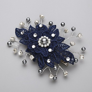 Imitation Pearl Cubic Zirconia Lace Alloy Hair Combs Flowers 1 Wedding Special Occasion Headpiece