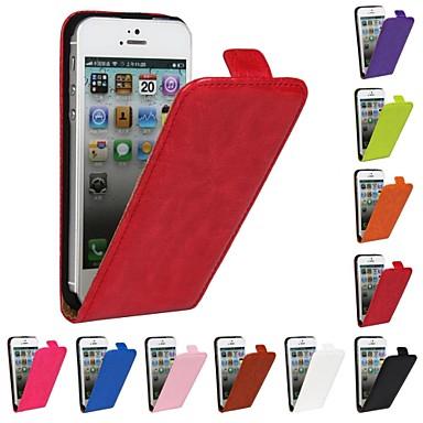 Pouzdro Uyumluluk iPhone 5 Apple iPhone 5 Kılıf Flip Tam Kaplama Kılıf Tek Renk Sert PU Deri için iPhone SE/5s iPhone 5
