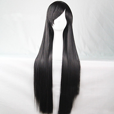 Cosplay Global Hot Models High-quality Synthetic Wigs 80cm High Temperature Wire Straight Hair Black Long Straight Hair