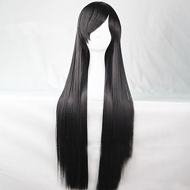 жен. Парики из искусственных волос Без шапочки-основы Длиный Прямые Черный Карнавальные парики