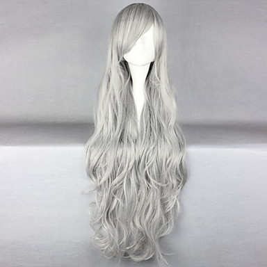 Syntetiske parykker Krøllet / Kinky Curly / Løse bølger Lagvis frisyre Syntetisk hår 30 tommers Naturlig hårlinje Mørkegrå Parykk Dame Lang Lokkløs Grå