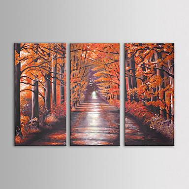 3 el iarts yağlıboya modern peyzaj kırmızı ağaçlar duvar sanatı seti gerilmiş çerçeve ile tuval boyalı