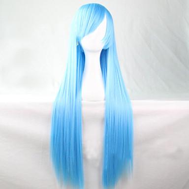 Syntetiske parykker Rett Asymmetrisk frisyre Syntetisk hår Naturlig hårlinje Blå Parykk Dame Lang Naturlig parykk Lokkløs Fest /