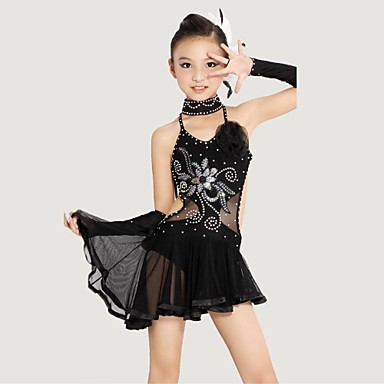 Latin dans Outfits Prestatie Polyester Lycra Kristallen / Bergkristallen Bloem Mouwloos Natuurlijk Kleding Armbanden Neckwear