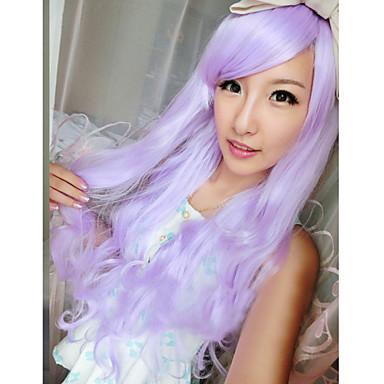 nieuwe harajuku anime paarse pruik lang krullend haar
