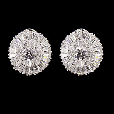 Silver Alloy With Cubic Zirconia  Wedding Earrings Elegant Style
