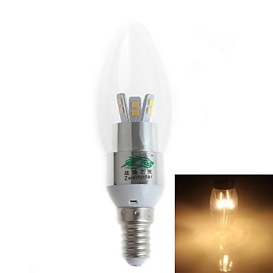 3W E14 LED gyertyaizzók 12 SMD 2835 280 lm Meleg fehér AC 220-240 V 1 db.