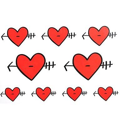 2PCS Yimei Tattoo Stickers Waterproof Others Women/Men/Adult/Teen Red/Red Heart-Shaped Pattern17cm*16cm