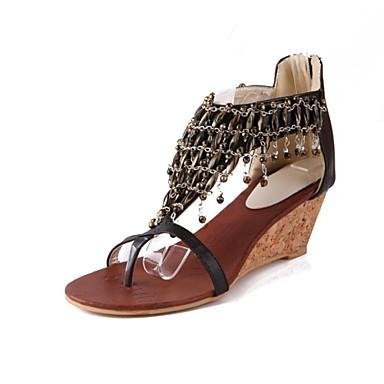 Черный / Бежевый - Женская обувь - На каждый день - Дерматин - На танкетке - На танкетке / Босоножки - Сандалии