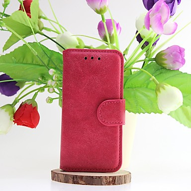 Case For iPhone 5 iPhone 5 Case Card Holder Wallet with Stand Flip Full Body Cases Solid Color Hard Genuine Leather for iPhone SE / 5s