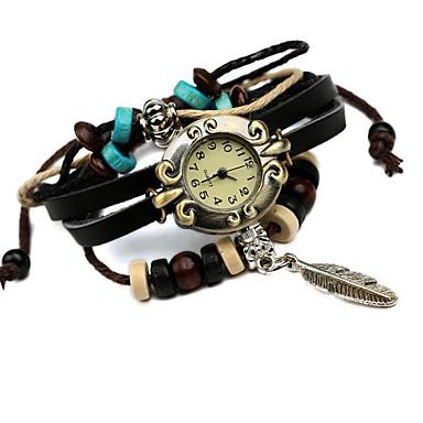 Women's Quartz Bracelet Watch Hot Sale Leather Band Vintage Black
