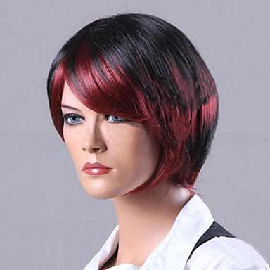 Syntetiske parykker Rett Asymmetrisk frisyre Syntetisk hår Naturlig hårlinje Rød / Flerfarvet Parykk Dame Kort Cosplay-parykk / Svart