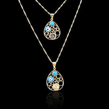 18K Real Gold Plated Allah Muslim Evil Eye Color Pendant Necklace