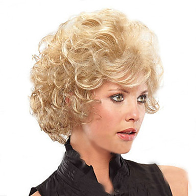 European and American  Fashion Short Blonde Burly Wig in The Elderly