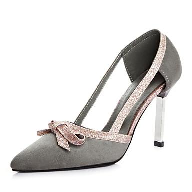 kvinners sko fleece sommer / spiss tå hæler kontor&karriere / uformell stiletto hæl bowknot / hul ut, svart / grå