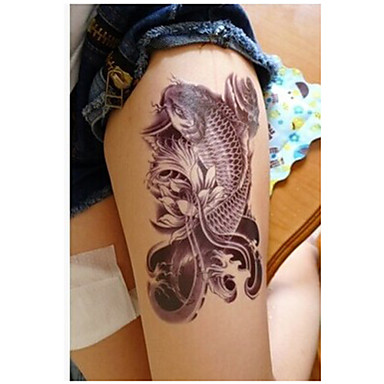 Carp Ancient Oriental Mascot Tattoo Stickers Temporary Tattoos(1 pc)