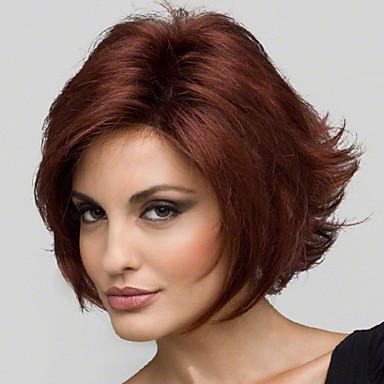 Szintetikus parókák Egyenes Réteges frizura Szintetikus haj Természetes hajszálvonal Piros Paróka Női Rövid Sapka nélküli