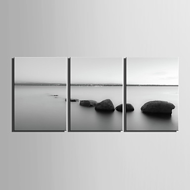 E-HOME® Stretched Canvas Art Water Stone Decorative Painting Set of 3