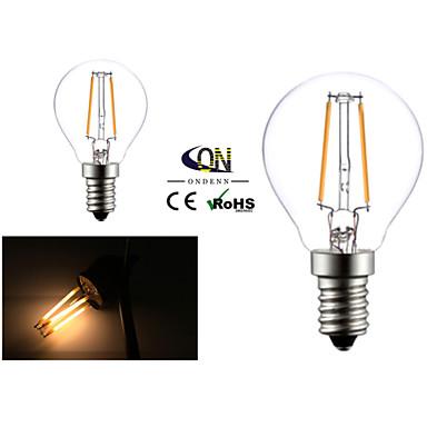 e14 a mené des ampoules de filament g45 2 cob 200lm blanc chaud 2800-3200k ac 220-240v