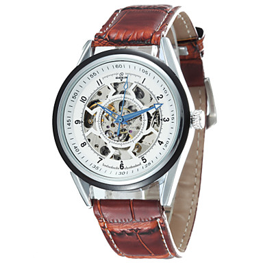 Men's Round Alloy Dial Leather Strap Automatic Mechanical Waterproof Watch(Assorted Colors) Cool Watch Unique Watch Fashion Watch