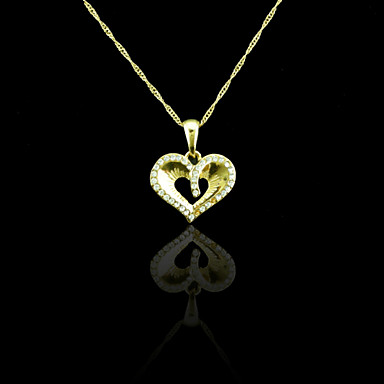 18K Real Gold Plated Heart Pendant Necklace