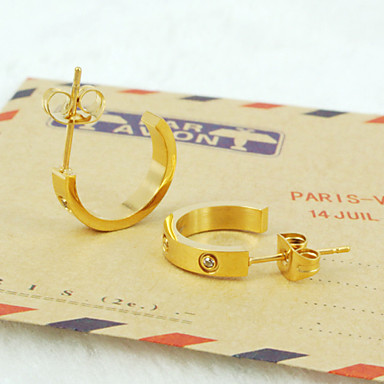 Peckové náušnice Luxus Módní Rose Gold Titanová ocel Pozlacené Umělé diamanty Šperky Denní Ležérní