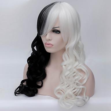 Synthetische Perücken Damen Locken Schwarz Asymmetrischer Haarschnitt Synthetische Haare Natürlicher Haaransatz / Afro-amerikanische Perücke Schwarz / Weiß Perücke Lang Kappenlos Schwarz