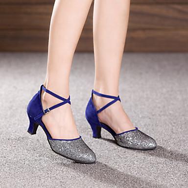 baratos Shall We® Sapatos de Dança-Mulheres Paetês / Camurça Sapatos de Dança Moderna Presilha Salto Salto Cubano Não Personalizável Fúcsia / Púrpura / Azul Real / EU36