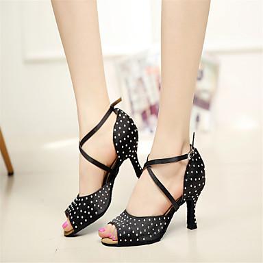 Kadın's Latin Dans Ayakkabıları / Performans / Jimlastik Saten Sandaletler Işıltılı Pullar Stiletto Topuk Kişiselleştirilmiş Dans