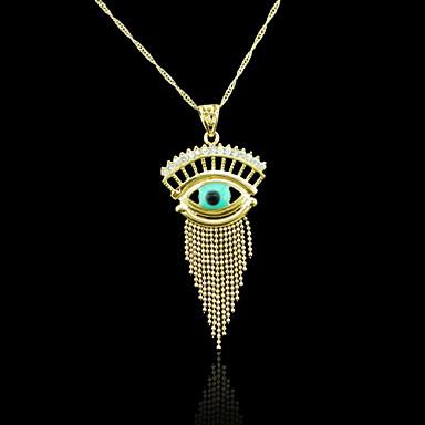 18K Real Gold Plated Evil Eye Tassel Pendant 5.5*3.1CM