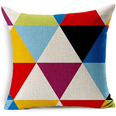 Modern tarzda renkli geometrik desenli pamuk / keten dekoratif yastık kılıfı