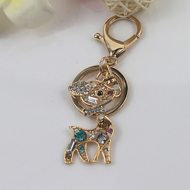 Fashion Unisex Shining Crystal Diamond Deer Pendant Keychains