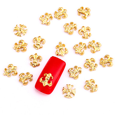 10PCS Gold Nail Art Jewelry Golden Cross Punk Rock Aryclic Nail Tips Decorations Nail Art Glitters for Nails