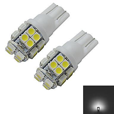 JIAWEN® 2pcs T10 1.2W 20X3528SMD 85LM 6000-6500K Cool White Inverted Side Wedge Light LED Car Lights (DC 12V)