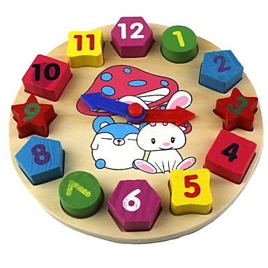 Wooden Clock Toy Klokke Utdanning Tre Gave