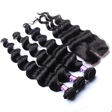 Индийские волосы Волосы Уток с закрытием Свободные волны Наращивание волос 4 предмета