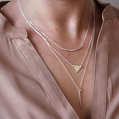 Kadın's Açıklama Kolye / katmanlı Kolyeler - Avrupa, minimalist tarzı Gümüş, Altın Kolyeler 1pc Uyumluluk Düğün, Parti, Günlük