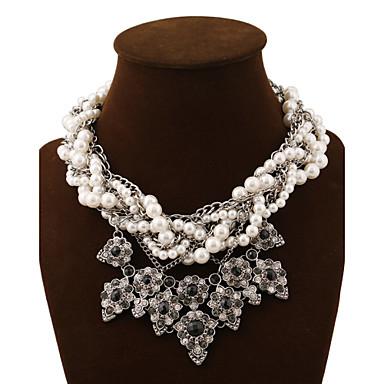 Feminino Luxo Multi Camadas Colares Declaração pérola Vertentes colares em camadas Colar com Pérolas Cristal Pedras preciosas sintéticas
