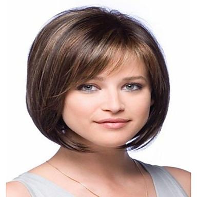 Ekte hår Parykk Brasiliansk hår Rett Parykk Bobfrisyre Med lugg 130% Hair Tetthet Dame Kort Medium Lengde Lang Blondeparykker med menneskehår Premierwigs
