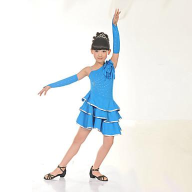 Latin tánc Ruhák Gyermek Edzés Teljesítmény Poliészter Fodrozott Ujjatlan Természetes Ruha Kesztyűk