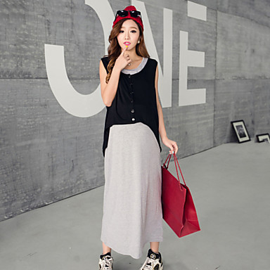 4711069aad8 Women s Casual Stretchy Sleeveless Maxi Maternity Dress Two Piece ...