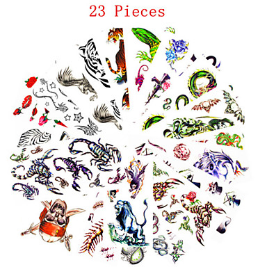 23 pcs Tattoo Aufkleber Temporary Tattoos Tier Serie / Blumen Serie Wasserfest / Non Toxic Körperkunst / Muster / Waterproof