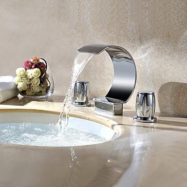 Μπάνιο βρύση νεροχύτη - Καταρράκτης Περιστρεφόμενες Χρώμιο Αναμεικτικές με ξεχωριστές βαλβίδες Τρεις Οπές Δύο λαβές τρεις οπές