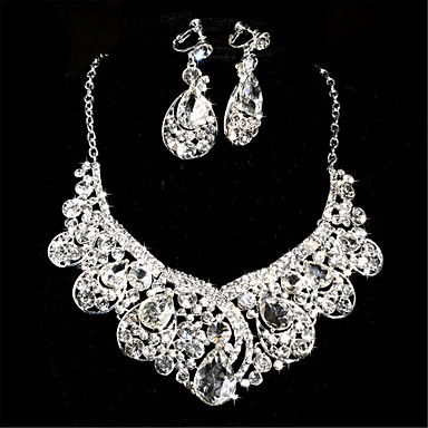 Women's Rhinestone Jewelry Set Include Earrings Necklace - Rhinestone Alloy For Wedding Special Occasion Anniversary