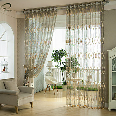 Rod Pocket Grommet Top Tab Top Double Pleat Pencil Pleat One Panel Curtain Country Modern Neoclassical European Designer , Jacquard Stripe
