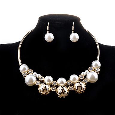 Damen Perle Hohl Schmuck-Set - Perle, Künstliche Perle, Diamantimitate Luxus, Modisch Einschließen Halskette / Ohrringe Golden Für Hochzeit Party Alltag / Halsketten