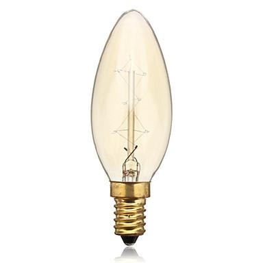 40w 260lm 3000k meleg fehér edison retro gyertya volfrám izzó lámpa (ac220v-240v)