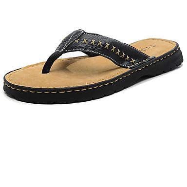 Черный / Коричневый - Мужская обувь - Для прогулок - Кожа - Тапочки