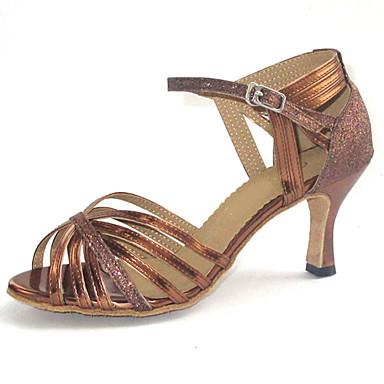 Chaussures de danse(Argent) -Personnalisables-Talon Personnalisé-Similicuir Paillette Brillante-Latine Salon , red , us4-4.5 / eu34 / uk2-2.5 / cn33